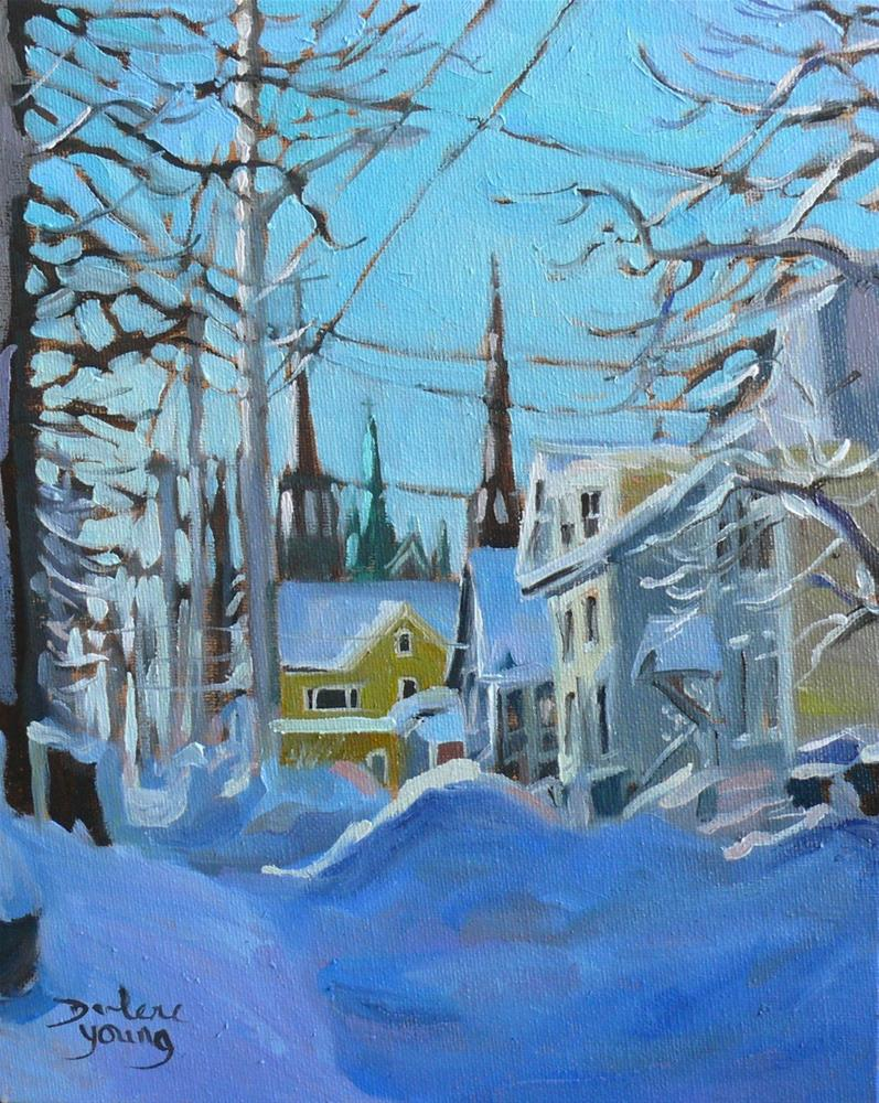 """910 Charlottetown Winter Scene, 8x10, oil on baord"" original fine art by Darlene Young"