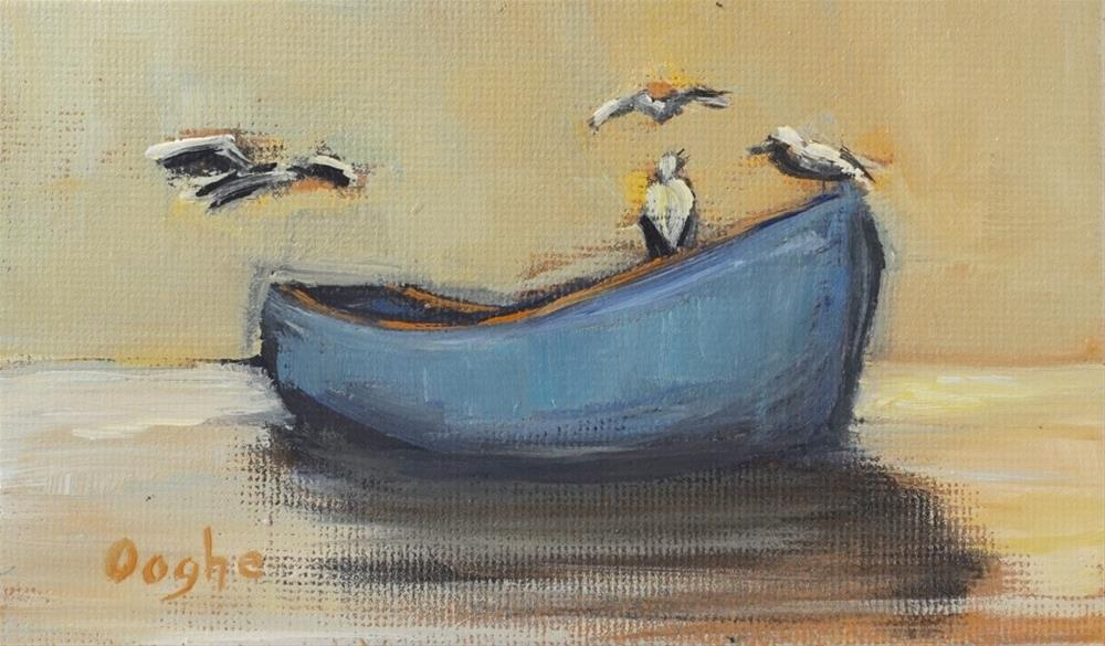 """Blue Boat"" original fine art by Angela Ooghe"