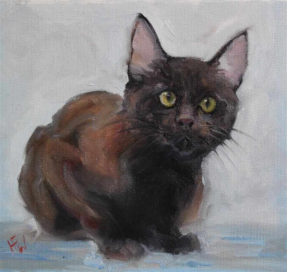 """Brown Kitten"" original fine art by H.F. Wallen"