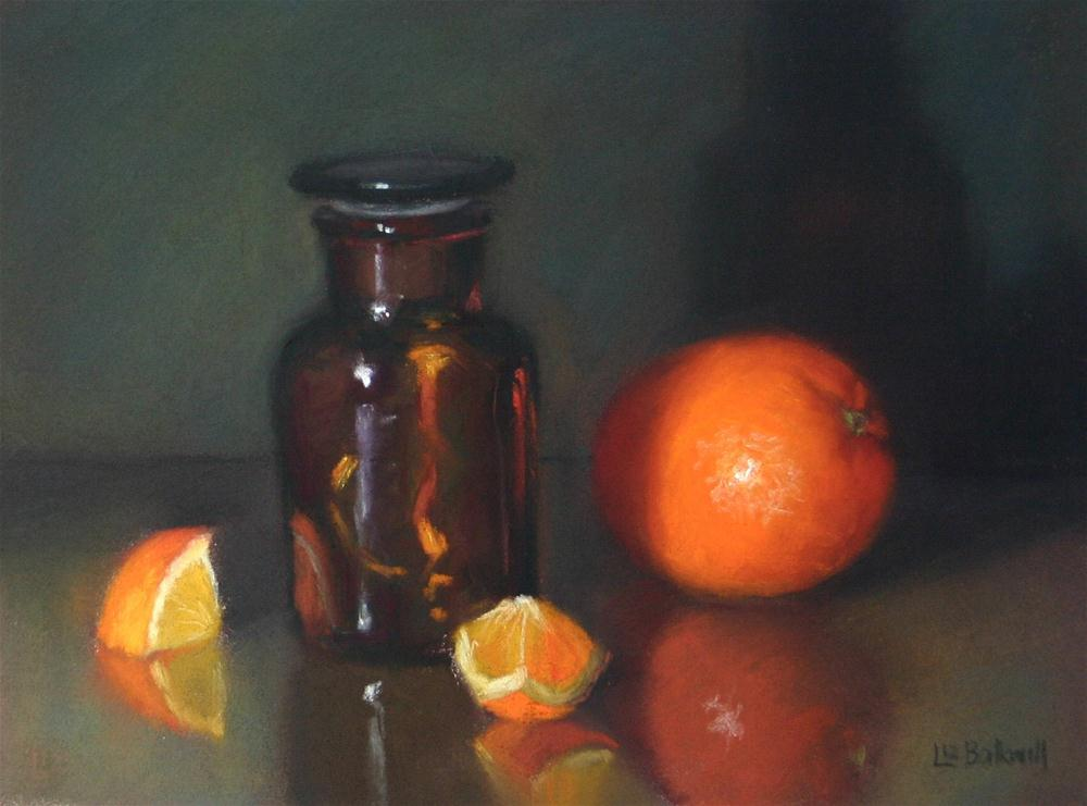 """Brown glass with orange"" original fine art by Liz Balkwill"