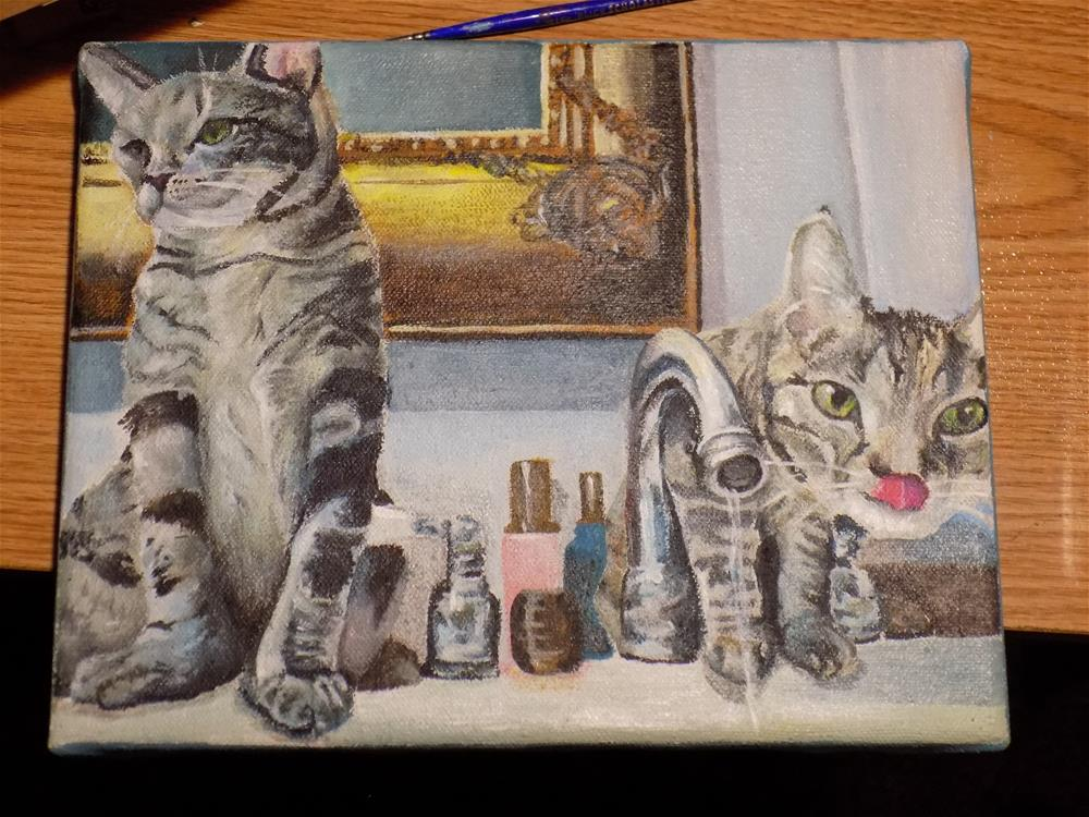 """Kitties having a drink"" original fine art by tara stephanos"