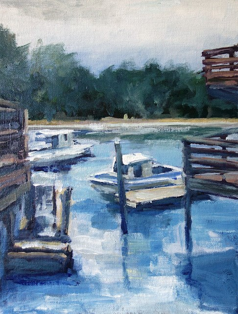 """Bolinas Boats"" original fine art by J. Farnsworth"