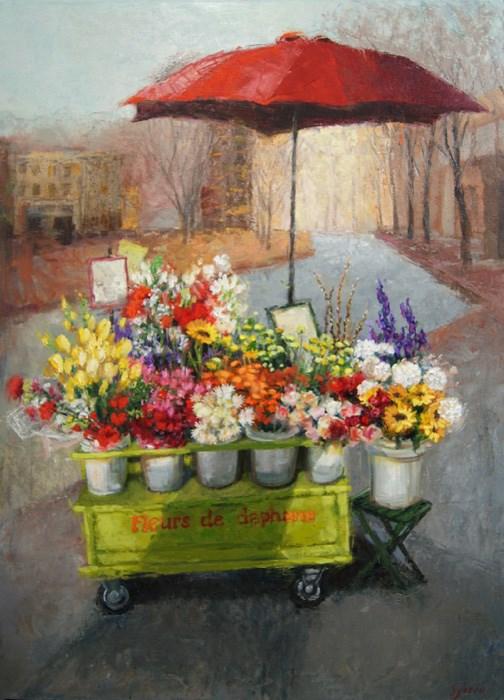 """""""Flower Cart"""" original fine art by Susan N Jarvis"""