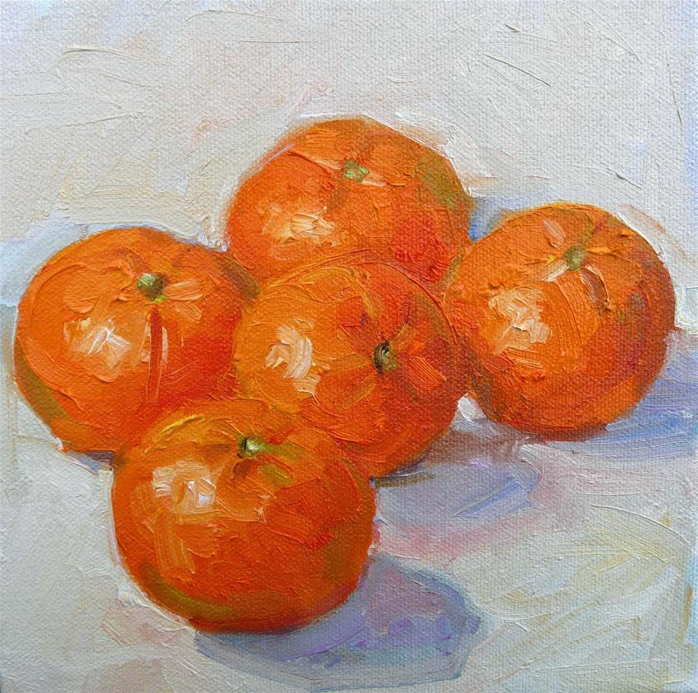 """More Manderines,still life,oil on canvas,8x8,price$275"" original fine art by Joy Olney"