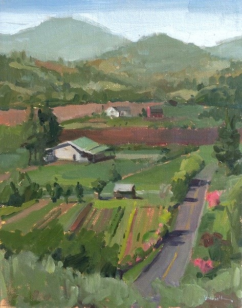 """View of the Flower Farm"" original fine art by Sarah Sedwick"