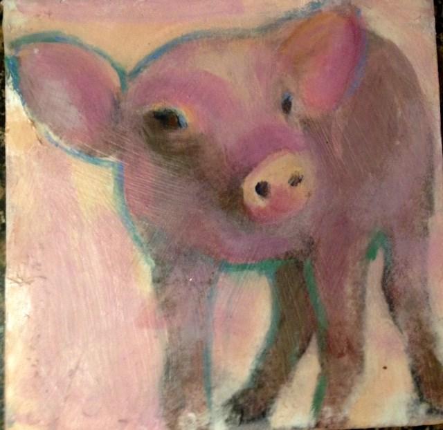 """This Little Piggie"" original fine art by barbara quast"