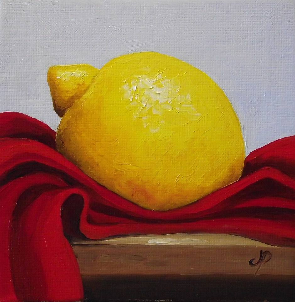 """Lemon on Red"" original fine art by Jane Palmer"