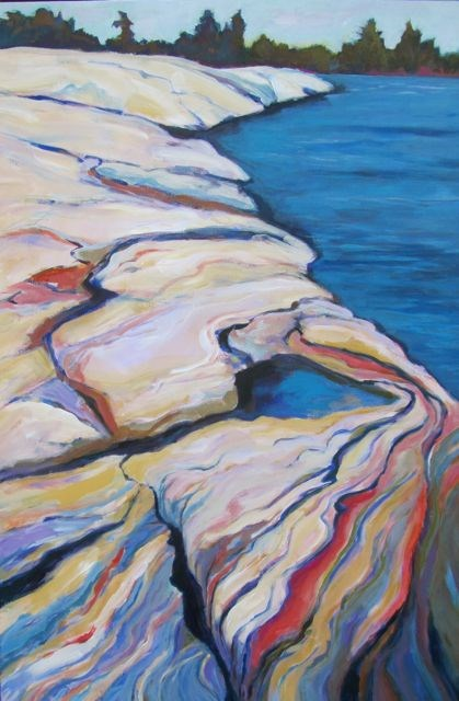 """Rocky Shore Georgia Bay"" original fine art by Patricia MacDonald"
