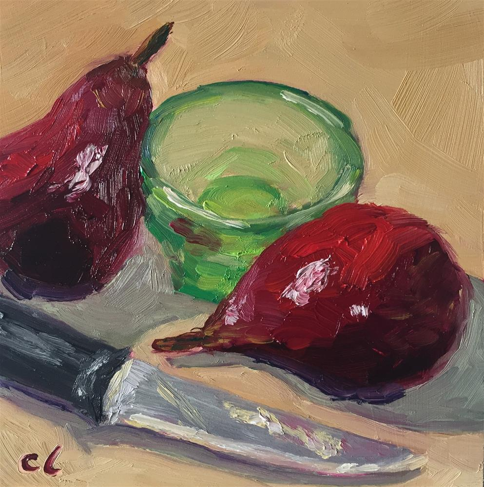 """Red pears"" original fine art by Cheree Apalona Lueck"