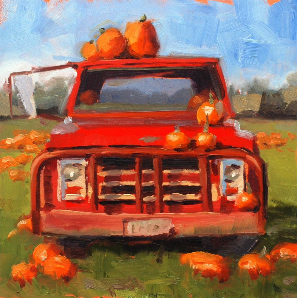 """No. 657 Bailey's Pumpkin Truck #1 - Plein Air"" original fine art by Susan McManamen"