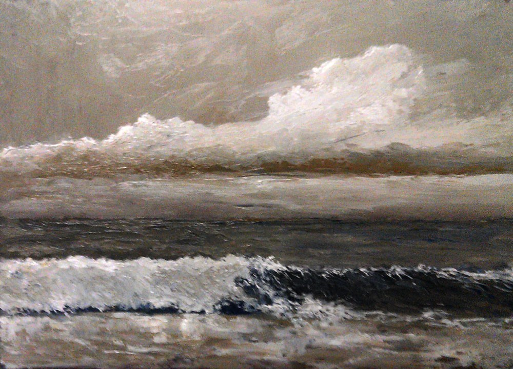 """Stormy Beach"" original fine art by Bob Kimball"