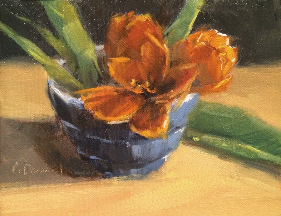 """Bowl of Tulips - Five of 30 in 30"" original fine art by Laurel Daniel"