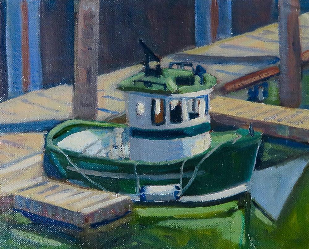 """""""LITTLE GREEN BOAT"""" original fine art by Deborah Czernecky"""