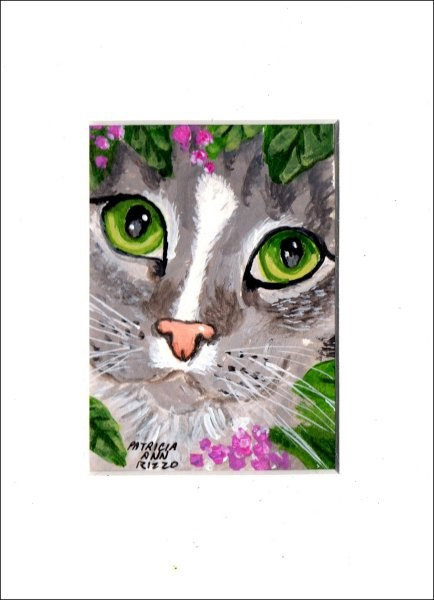 """Green Eyed Kitty"" original fine art by Patricia Ann Rizzo"