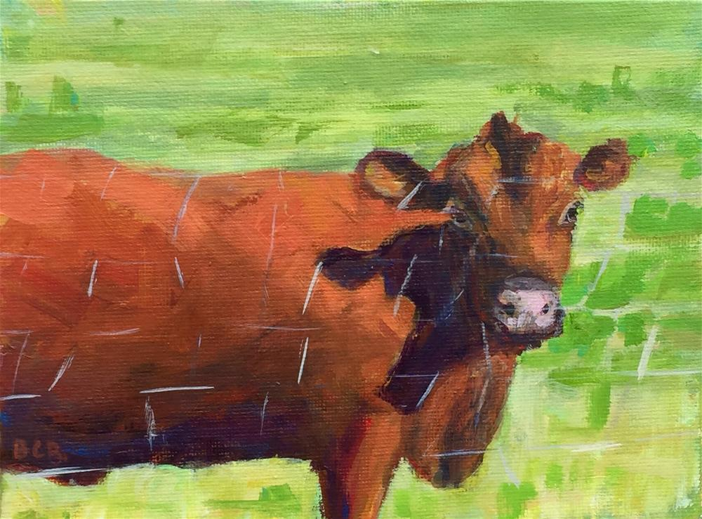 """Cow Challenge Green Acres"" original fine art by Beth Carrington Brown"