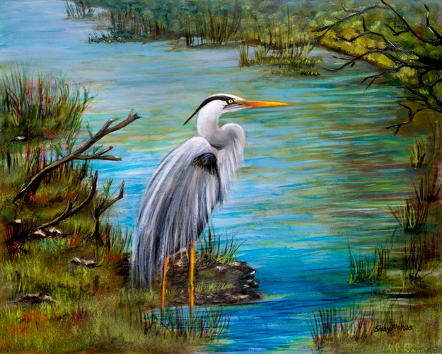 """Handsome Heron"" original fine art by Sissy Blakslee"