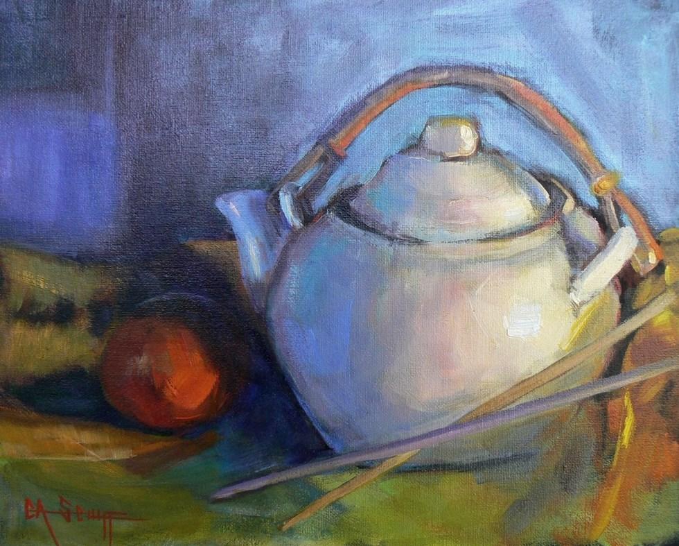 """WILD AND WACKY WEDNESDAY, SALE, Tea Pot Still Life Painting, Tea Pot and Chop Sticks by Carol Schi"" original fine art by Carol Schiff"