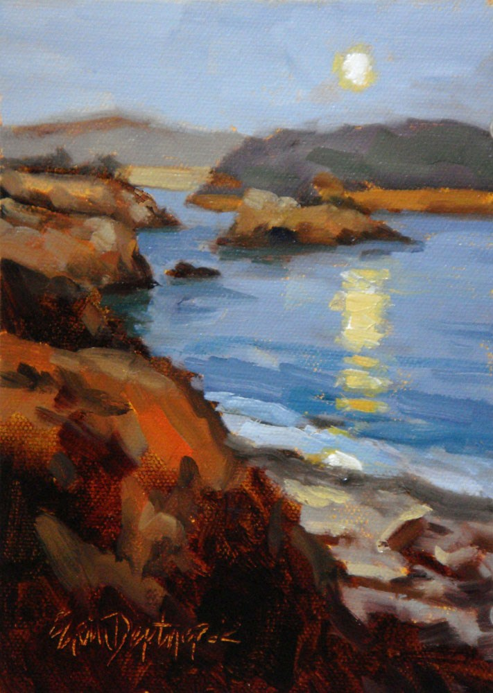 """Mendocino Moonrise"" original fine art by Erin Dertner"