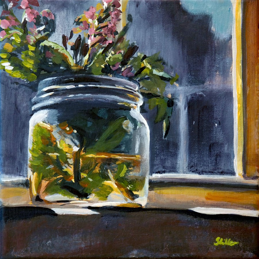 """1391 Flowers in a Jar"" original fine art by Dietmar Stiller"