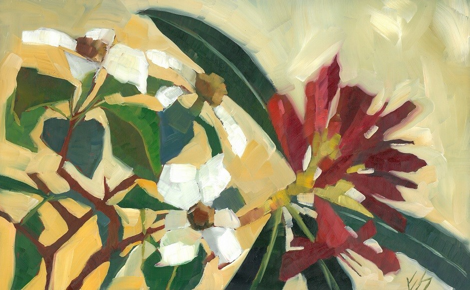 """Dogwood and Rhodies"" original fine art by Elizabeth See"
