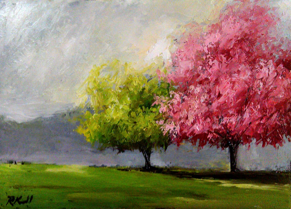 """Cherry Tree and Friend"" original fine art by Bob Kimball"