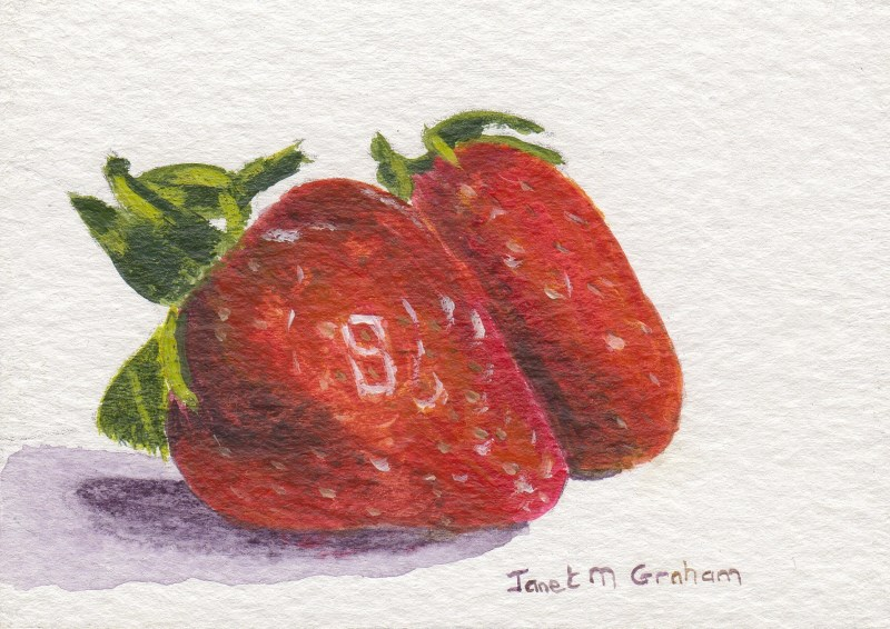 """Strawberries ACEO"" original fine art by Janet Graham"