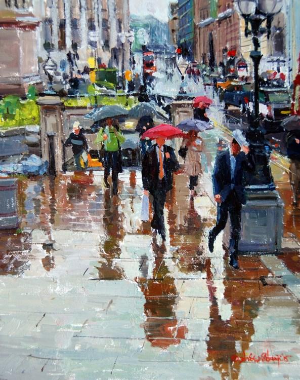 """Crazy Rain and Reflections, City of London"" original fine art by Adebanji Alade"