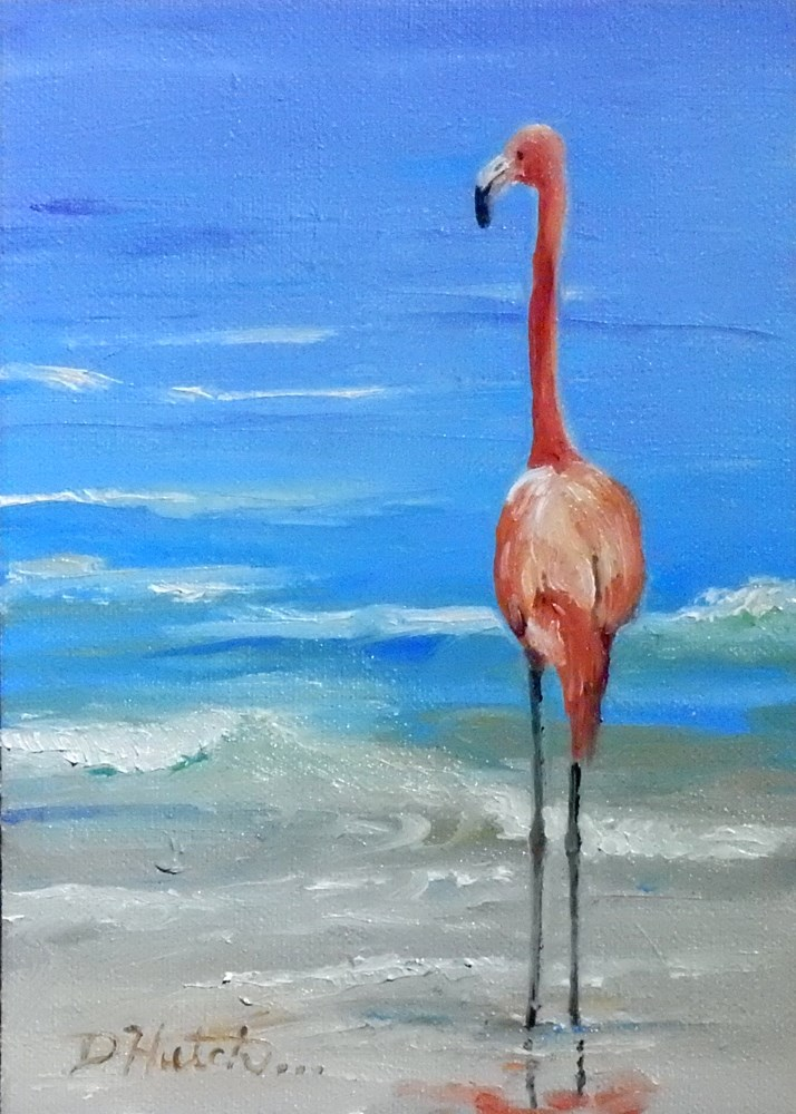 """Flamingo #2"" original fine art by Diane Hutchinson"