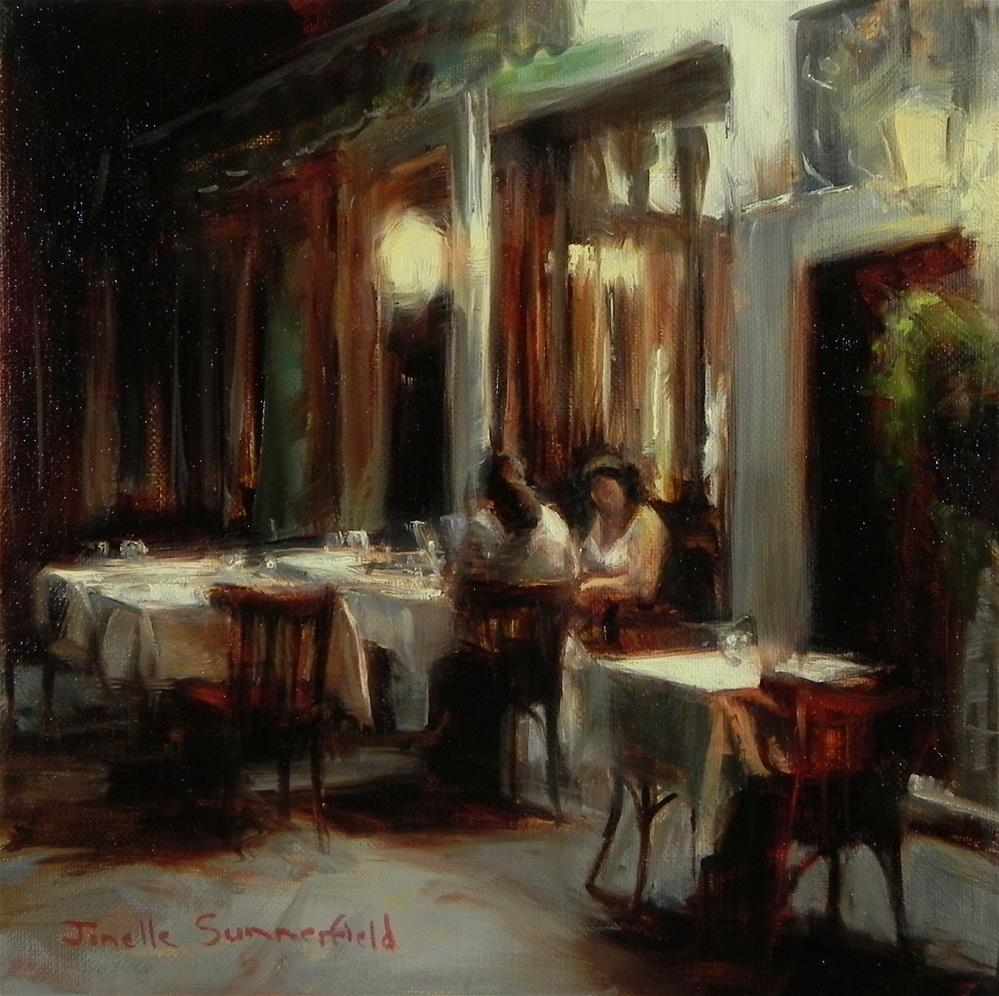 """Late Dinner at the Pizzeria"" original fine art by Jonelle Summerfield"