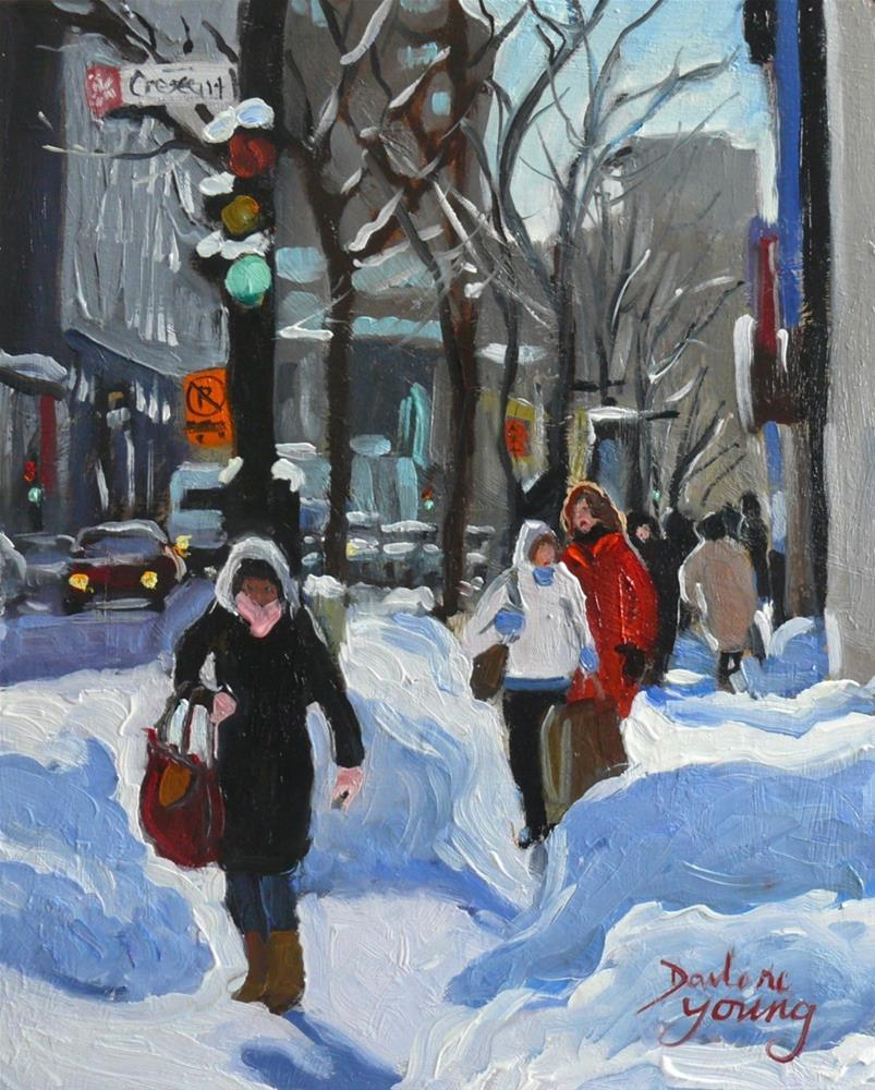 """903 Montreal Winter Scene, Crescent, oil on board, 8x10"" original fine art by Darlene Young"