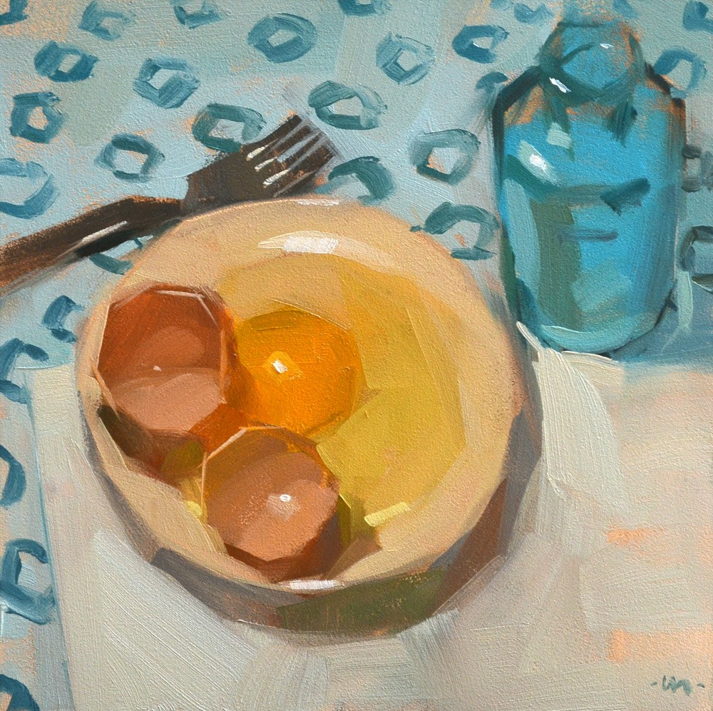 """Egg For Company"" original fine art by Carol Marine"