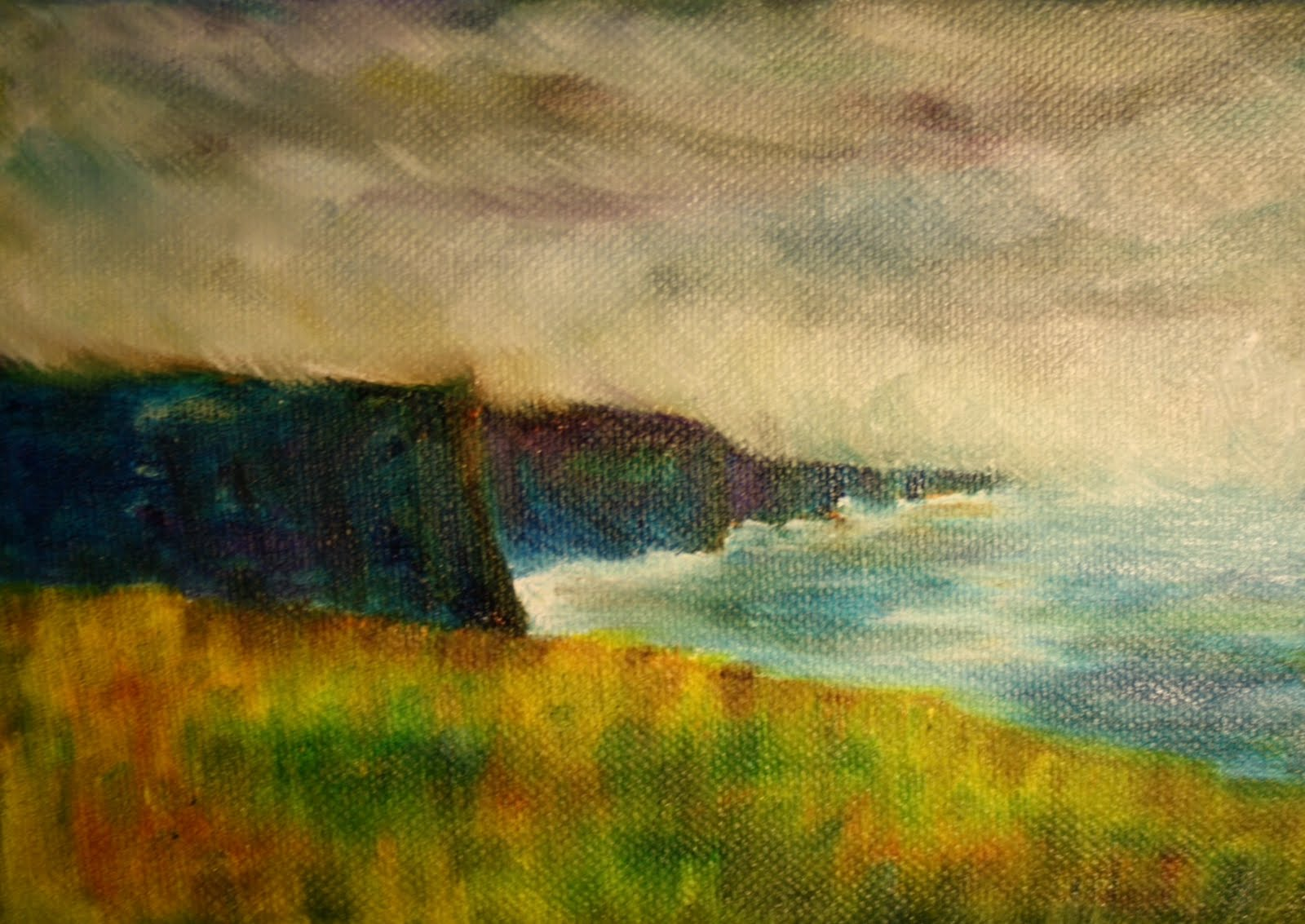 """Irish Mist on the Cliffs of Moher"" original fine art by Maggie Flatley"
