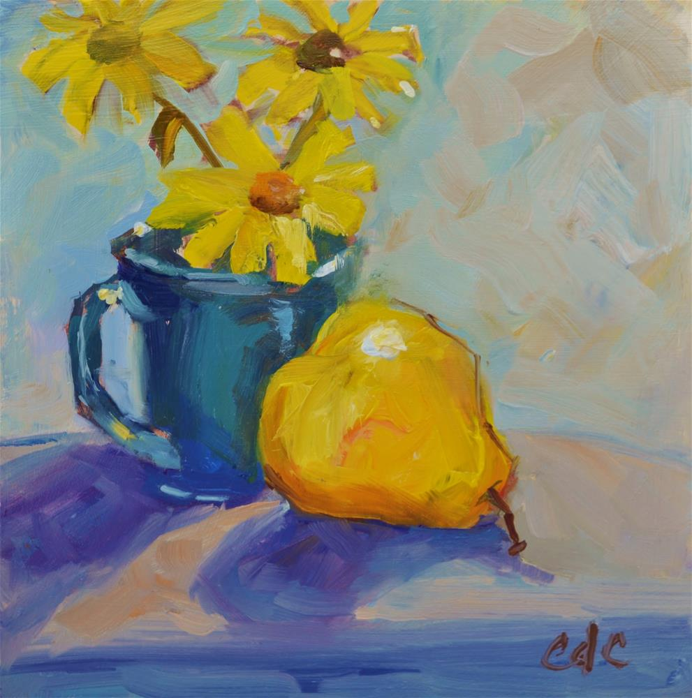 """Daisies and Pear"" original fine art by Catherine Crookston"