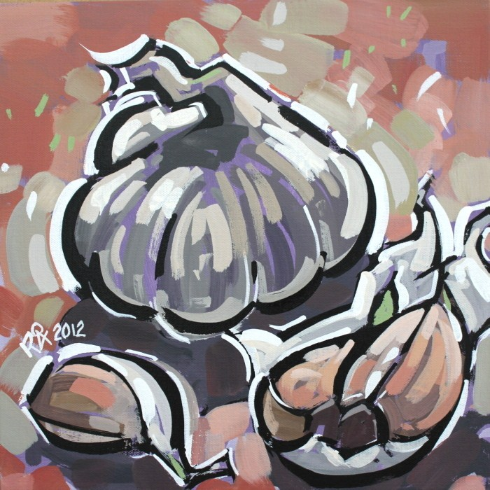 """Pieces of garlic"" original fine art by Roger Akesson"