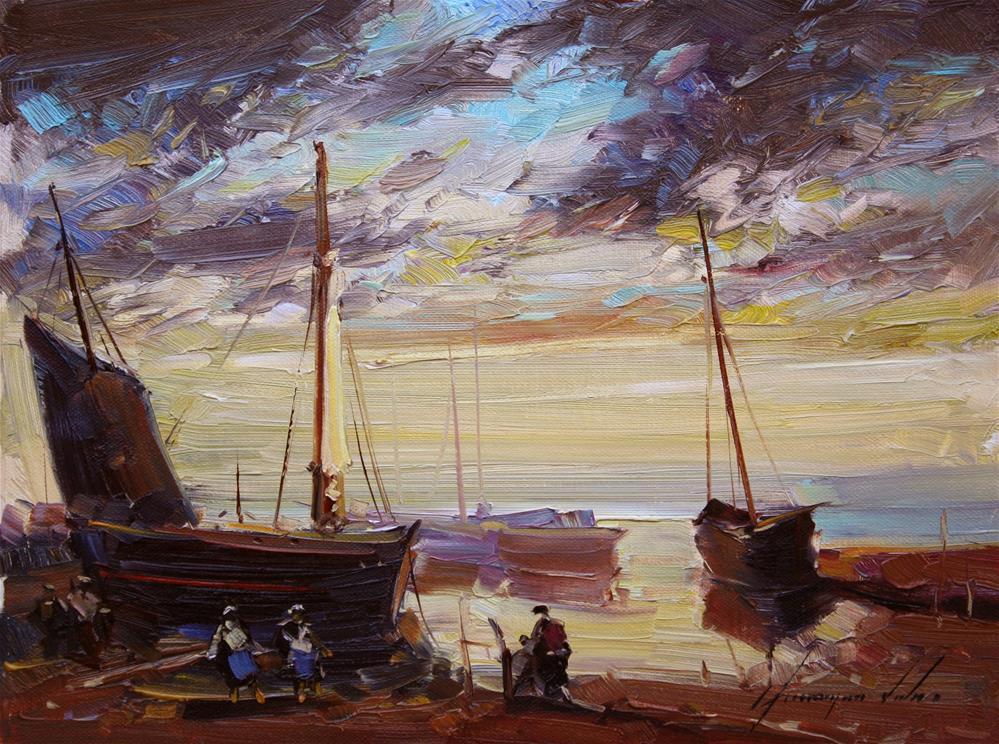 """FISHING BOUTS SUNSET ORIGINAL OIL PAINTING"" original fine art by V Yeremyan"
