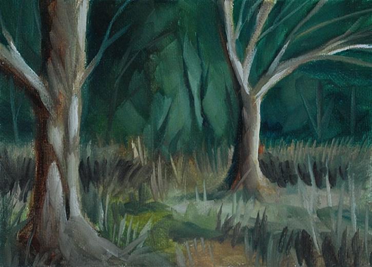 """Sunlit Tree Trunks"" original fine art by J M Needham"