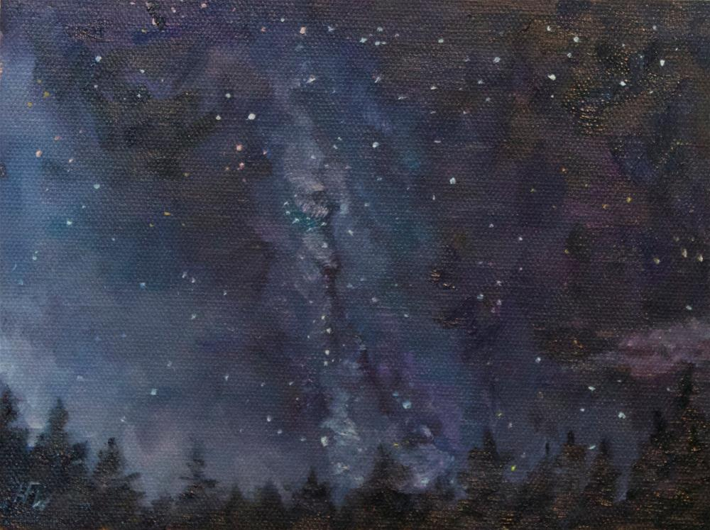 """The Milky Way above the Rocky Mountains"" original fine art by H.F. Wallen"