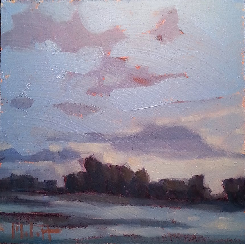 """Eagle Marsh Dusk Color Study Original Daily Oil Painting Impressionism"" original fine art by Heidi Malott"