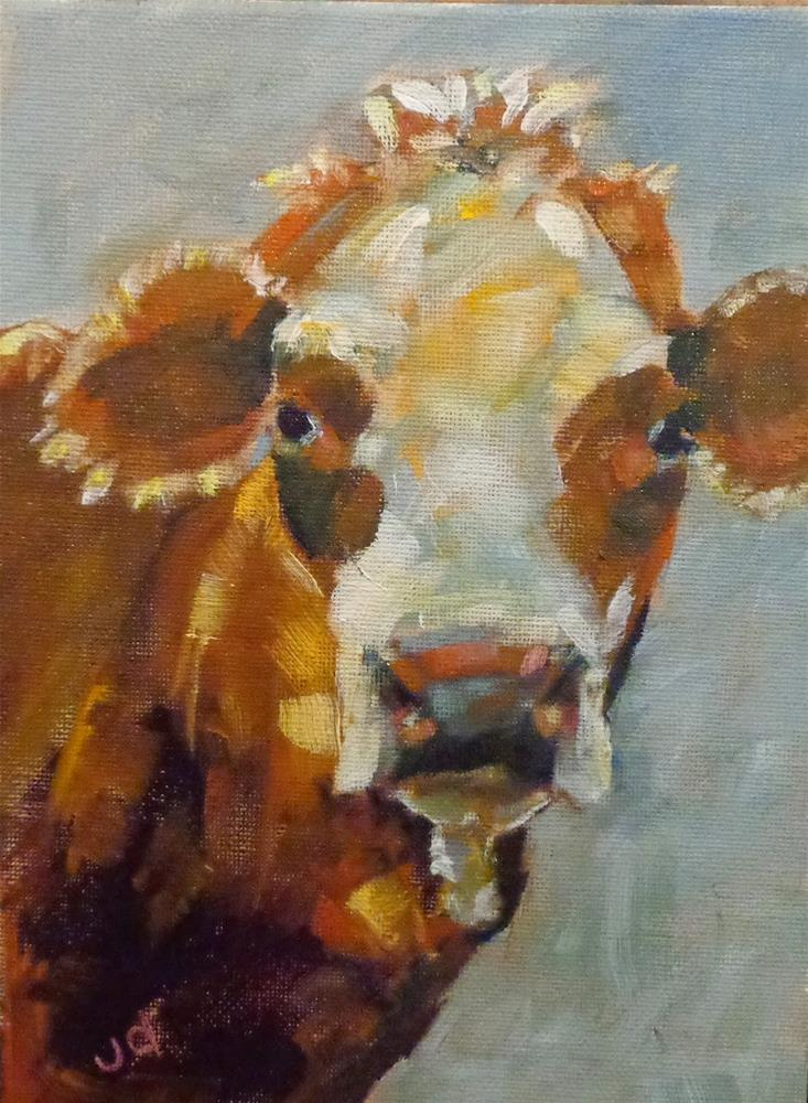 """Cow 16...I've been thinking"" original fine art by Jean Delaney"