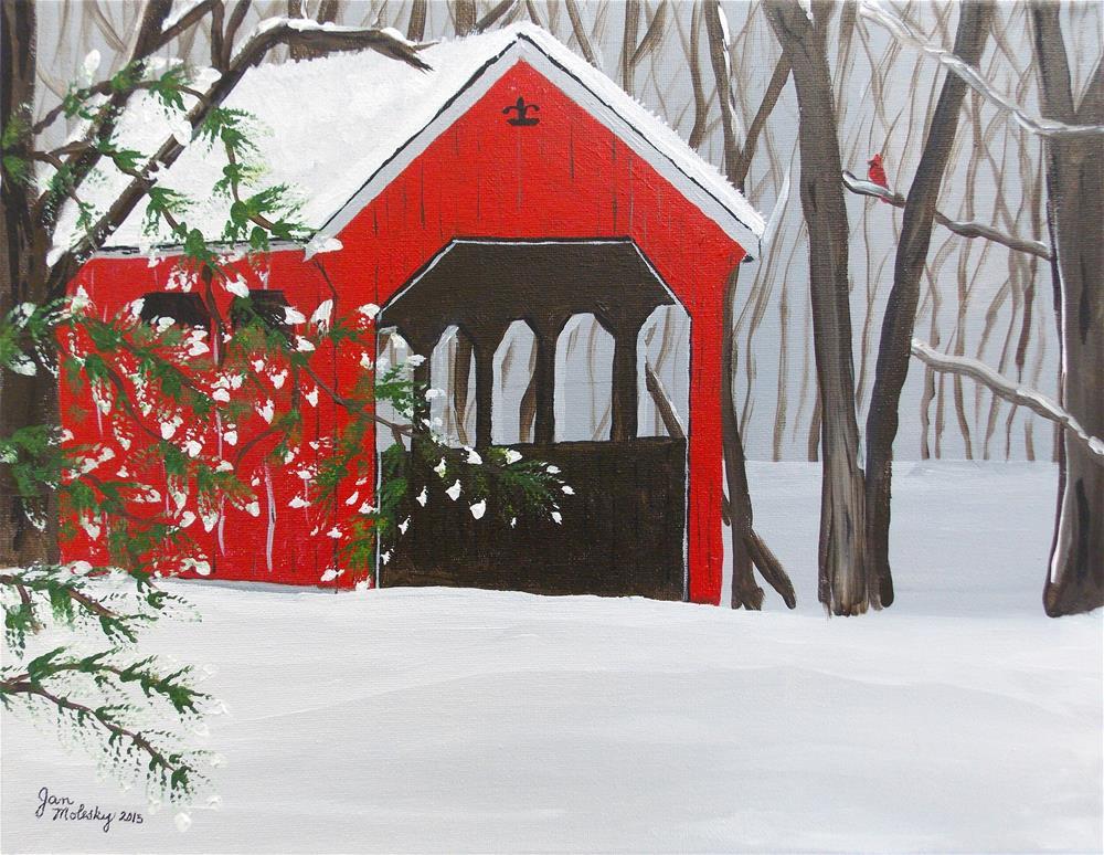 """Covered Bridge Visitor"" original fine art by Jan Molesky"