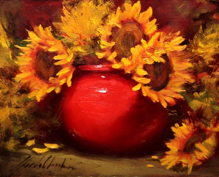 """""""Sunflowers in Red Vase"""" original fine art by Justin Clements"""
