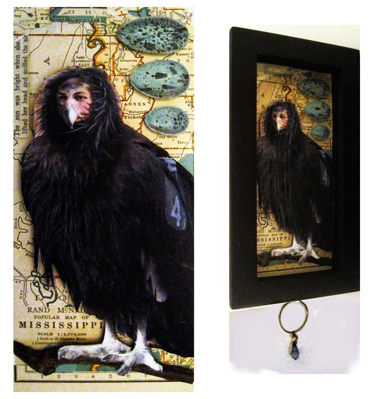 """Bird Woman of Mississippi  assemblage altered art"" original fine art by Linda Apple"