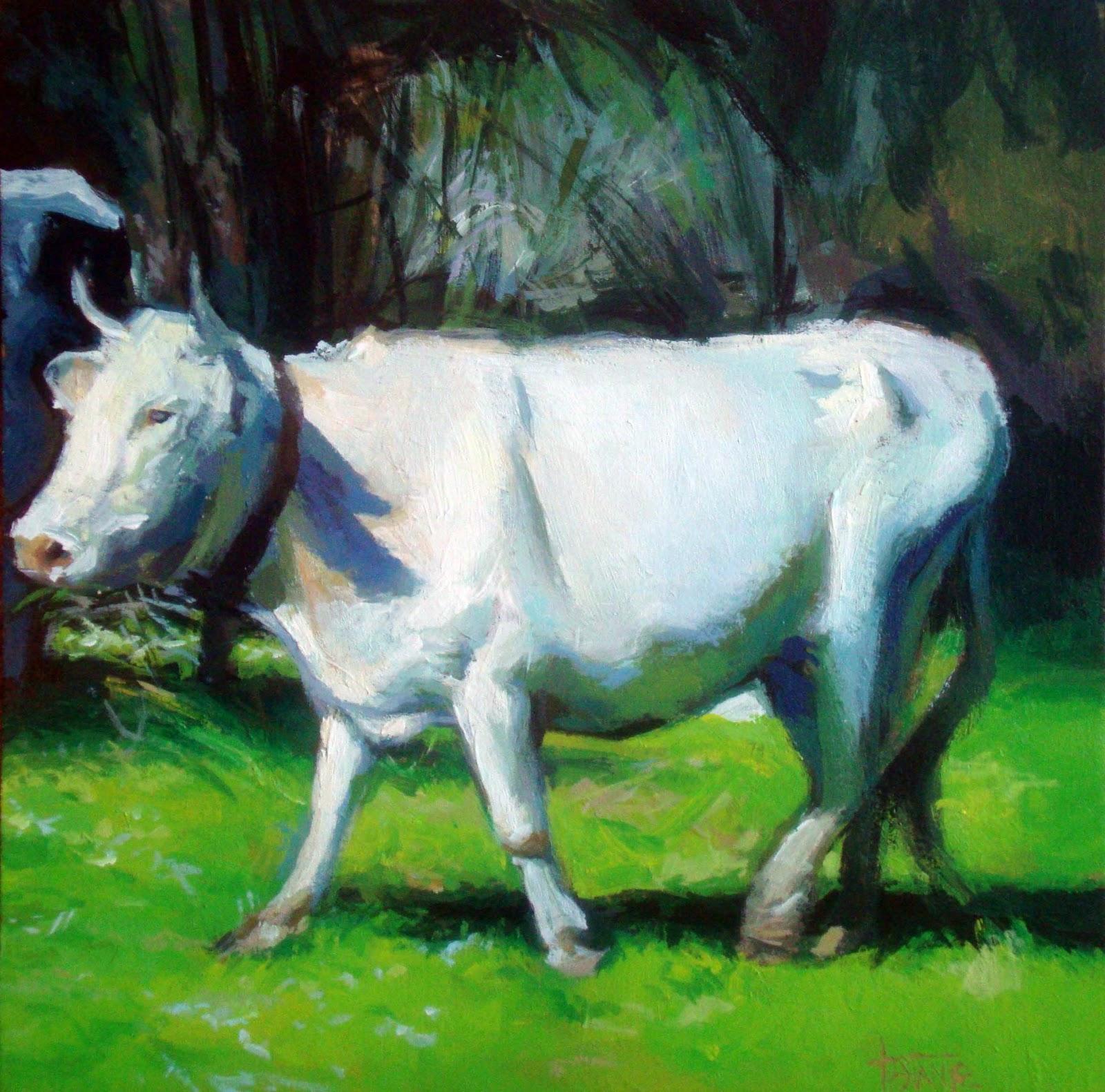 """White cow"" original fine art by Víctor Tristante"