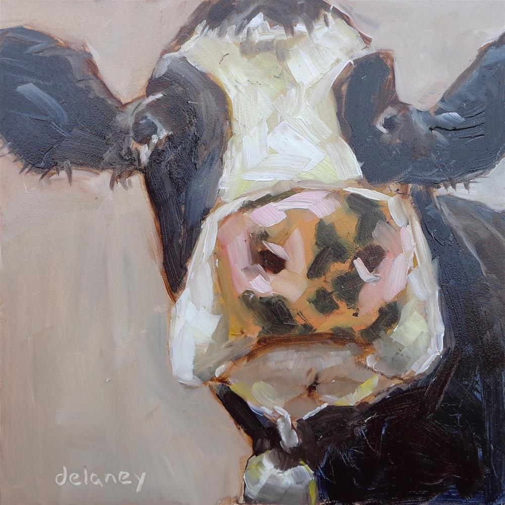 """Cow 83 SPOTS AND DOTS"" original fine art by Jean Delaney"