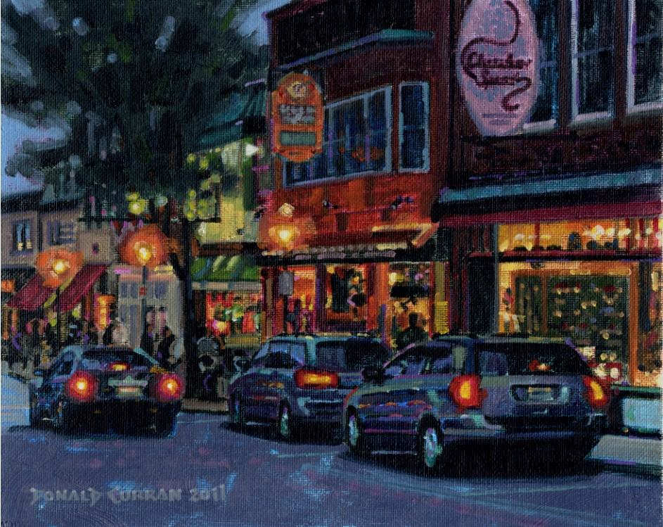 """Main Street, Bar Harbor"" original fine art by Donald Curran"
