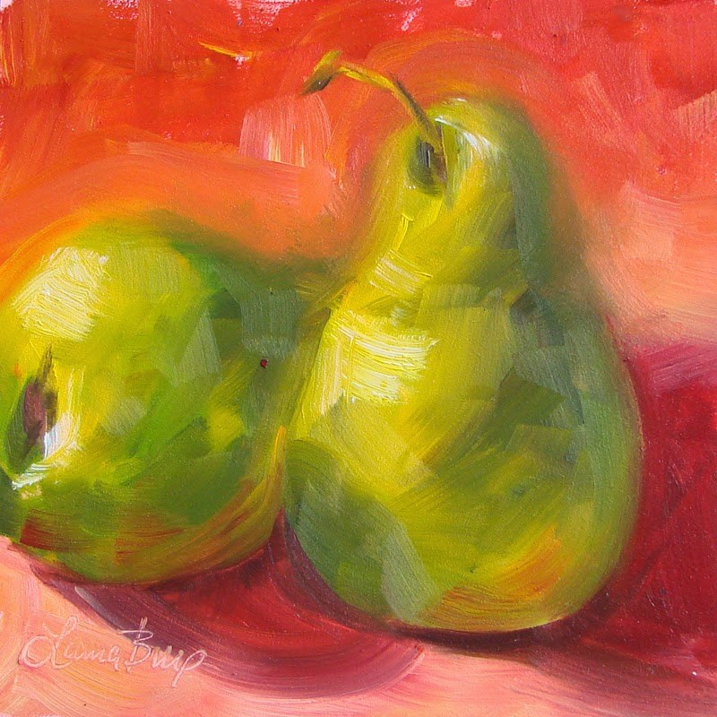 """Pair of Pears 206"" original fine art by Laura  Buxo"