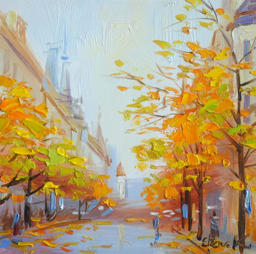 """Autumn in the City"" original fine art by Elena Katsyura"