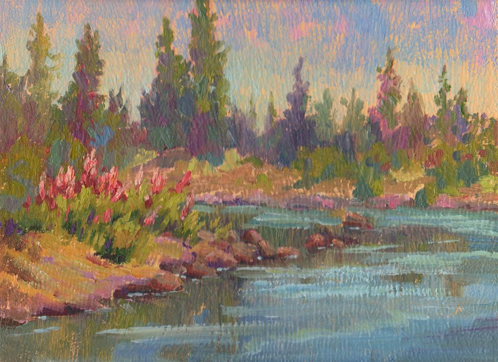 """SPIREA ON THE RIVERBANK"" original fine art by Karen E Lewis"