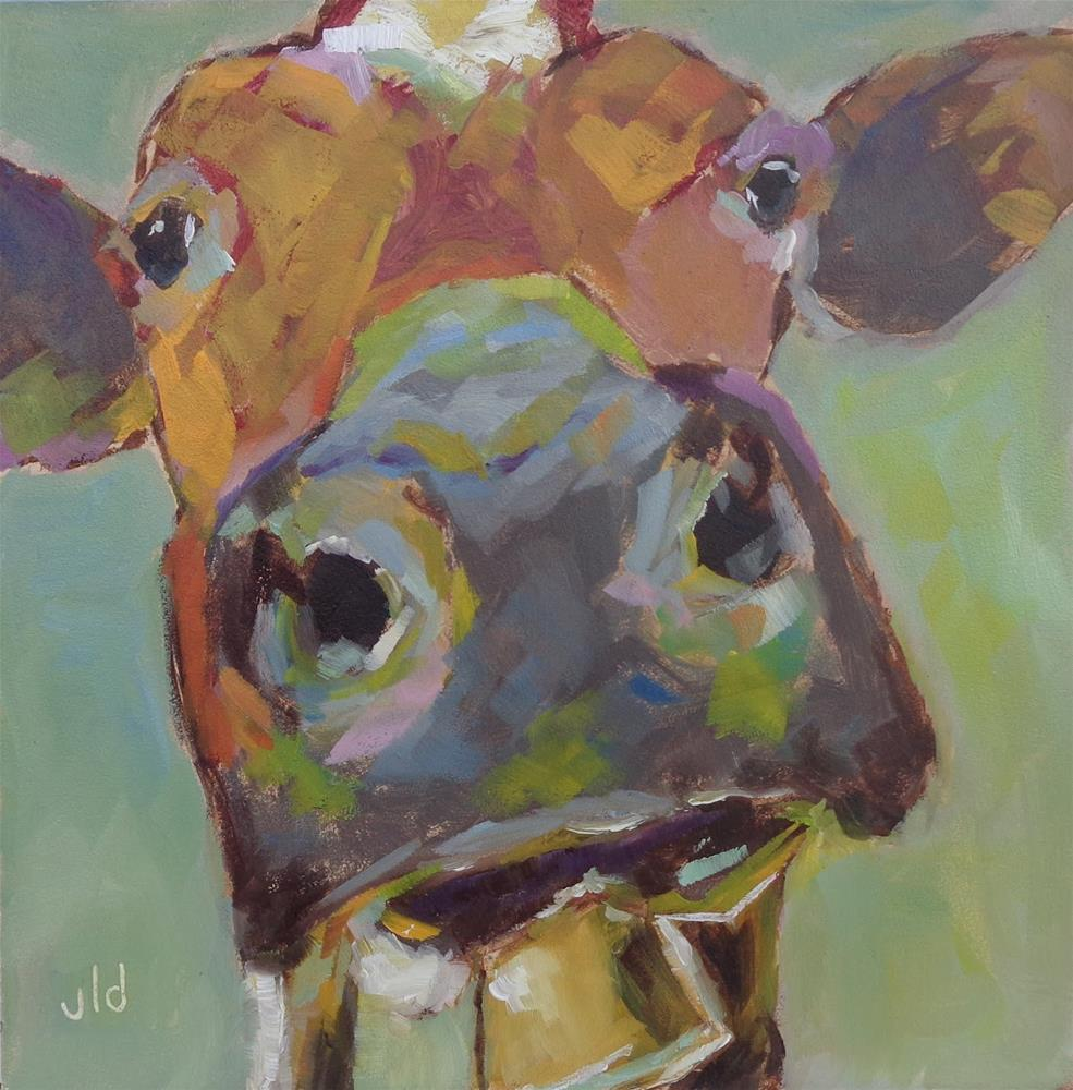 """Cow 58 I smell something"" original fine art by Jean Delaney"