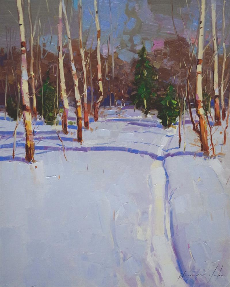 """Through the Snow Landscape oil painting on Canvas"" original fine art by V Yeremyan"